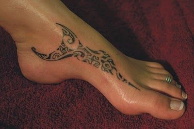 Tahitian foot tattoo