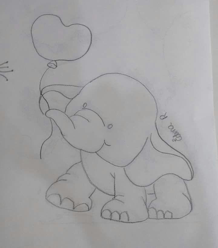 Elefante Bordado Do Bebe Elefantes Pintados Pinturas Em Tecido