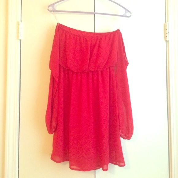Red off shoulder dress Worn once for a tailgate! Super cute! Elastic waist with draping off shoulder sleeves. Dress is fully lined! Dresses