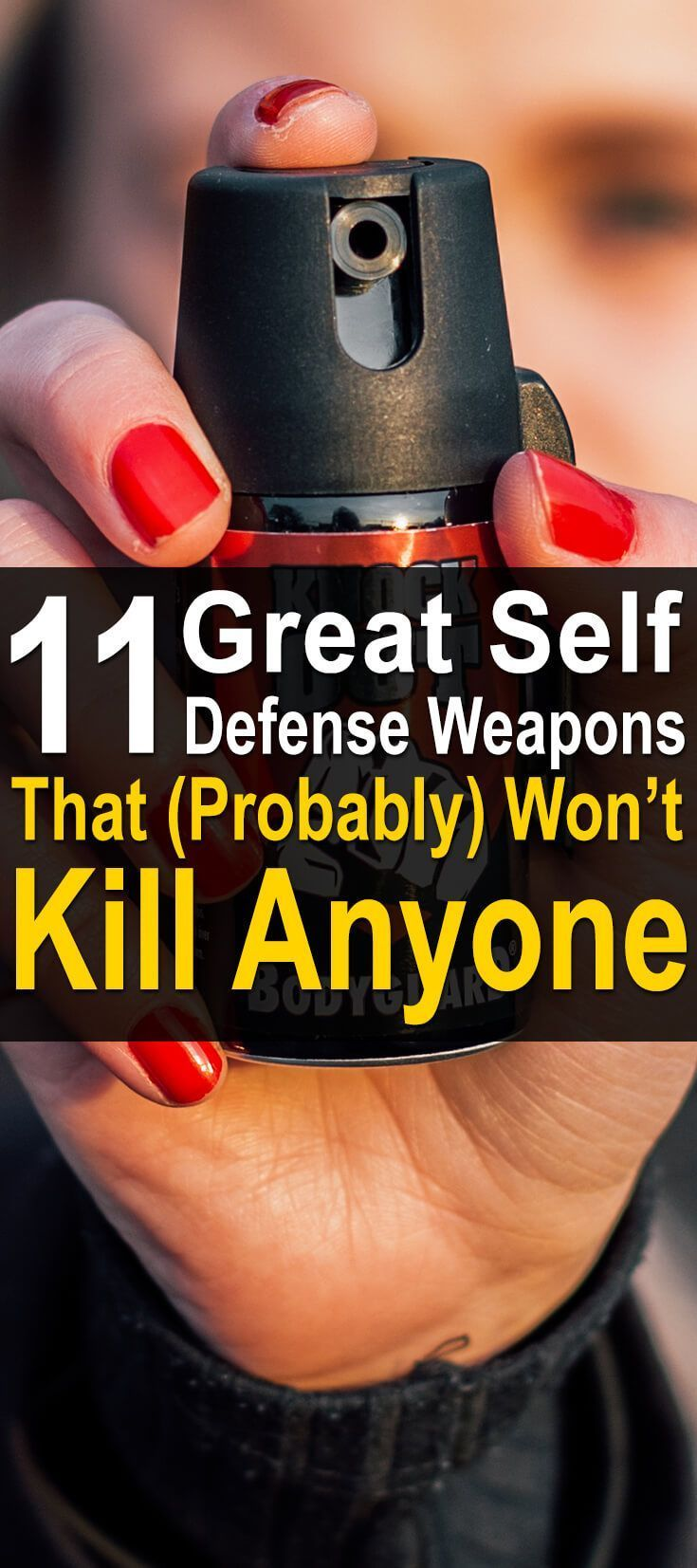 11 Great Self Defense Weapons That (Probably) Won't Kill Anyone. The most popular self-defense weapon is a firearm, but that doesn't mean it's always the best self-defense weapon. #Urbansurvivalsite #Selfdefenseweapons #Protectyourself #Weaponsforprotection #selfdefenseproducts
