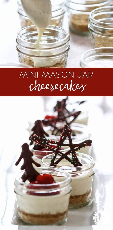 These Mini Mason Jar Cheesecakes Make A Delicious Holiday Appetizer Recipe Masonjar Cheesecake Mason Jar Desserts Mason Jar Cheesecake Dessert Recipes Easy
