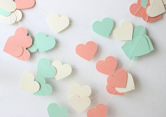 Wedding Garland Mint Green Coral & Cream Heart by MailboxHappiness, $12.00