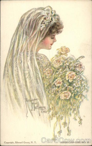 American Girl - Bride in Veil with Bouquet Marriage & Wedding   vintage postcards