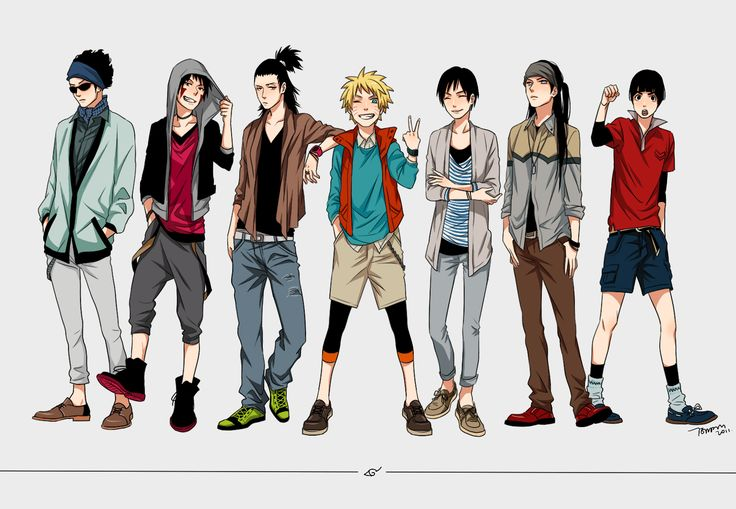 Naruto boys in casual and modern clothing fashion anime anime