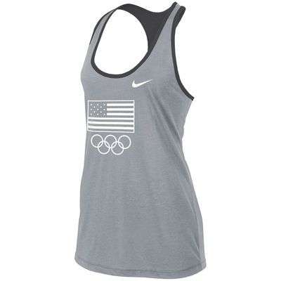 Women's Nike Gray Team USA Flag and Rings Flow Training Performance Tank Top