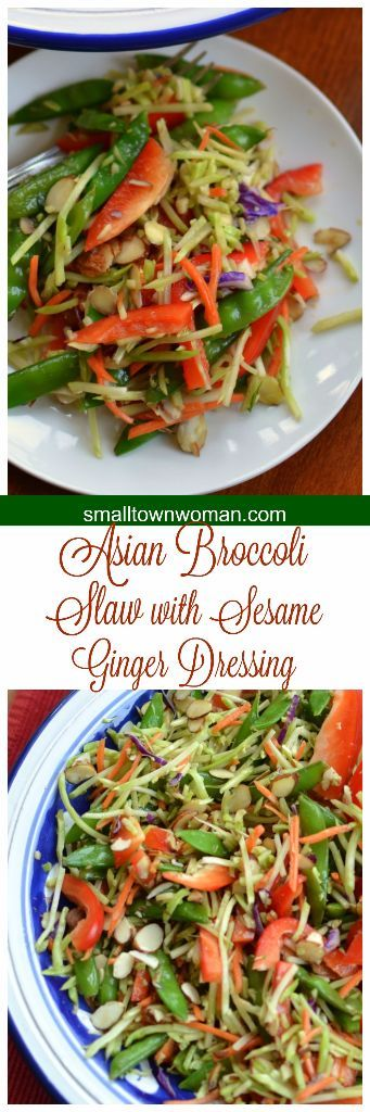 This Asian Broccoli Slaw with Sesame Ginger Dressing is fabulous for entertaining as it is just so pretty with all those beautiful colors!  Almost like a rainbow!