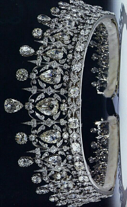 The Fife Tiara first belonged to Princess Louise of Wales, the oldest daughter of King Edward VII and Queen Alexandra. When she married the Earl of Fife in 1889, she received quite a waterfall of sparkling presents; this stunning tiara with pear-shaped diamonds hanging freely in a diamond framework, topped with more pear-shaped diamonds alternating with round diamonds, was among them. It is thought to be the work of Parisian jeweler Oscar Massin.