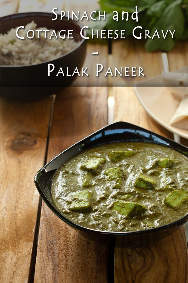 Spinach and Cottage Cheese gravy - Palak Paneer www.masalaherb.com #stepbystep #recipe