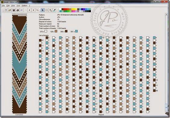JPo-12 around (see coordinating finished bracelet)-brazowo-turkusowy-4kol