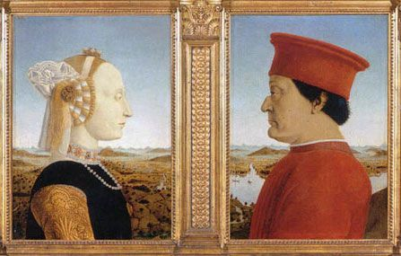 Portraits of the Dukes of Urbino by Piero della Francesca at Uffizi in Florence. he diptych of the Dukes of Urbino is one of the most famous works of art of the Italian Renaissance. Painted by Piero della Francesca, it depicts Federico da Montefeltro and his wife Battista Sforza