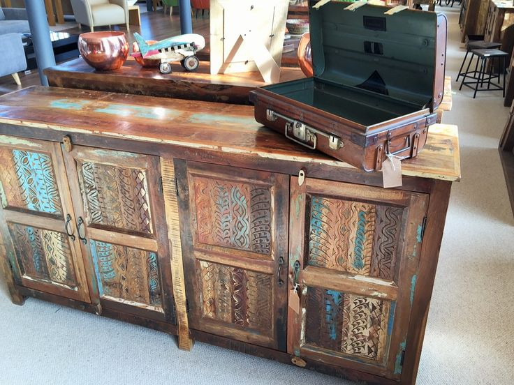 Aimee Upcycled 4 Door Sideboard. Remade from old timbers and fortress doors!