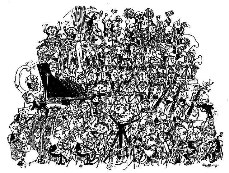 """BROMAS MUSICALES """" La  orquesta sinfónica de Hoffnung""""   Las bromas musicales han sido recurrentes a lo largo de los siglos, como los reclamos de ruiseñor, cuclillo y carraca de """"La Sinfonía de los juguetes de Haydn o el """"Concierto para dos tenedores afinados en los modos Do y La"""", para el concierto anual """"At home"""" del Royal College  of  music  de Londres de 1955."""