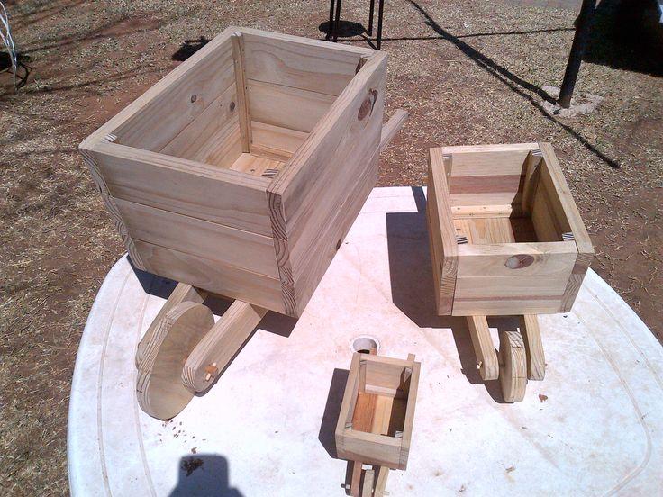 Wooden wheelbarrow planter box