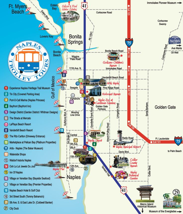 Naples Trolley Tours - Route Map | FLORIDA | Naples, Marco ...