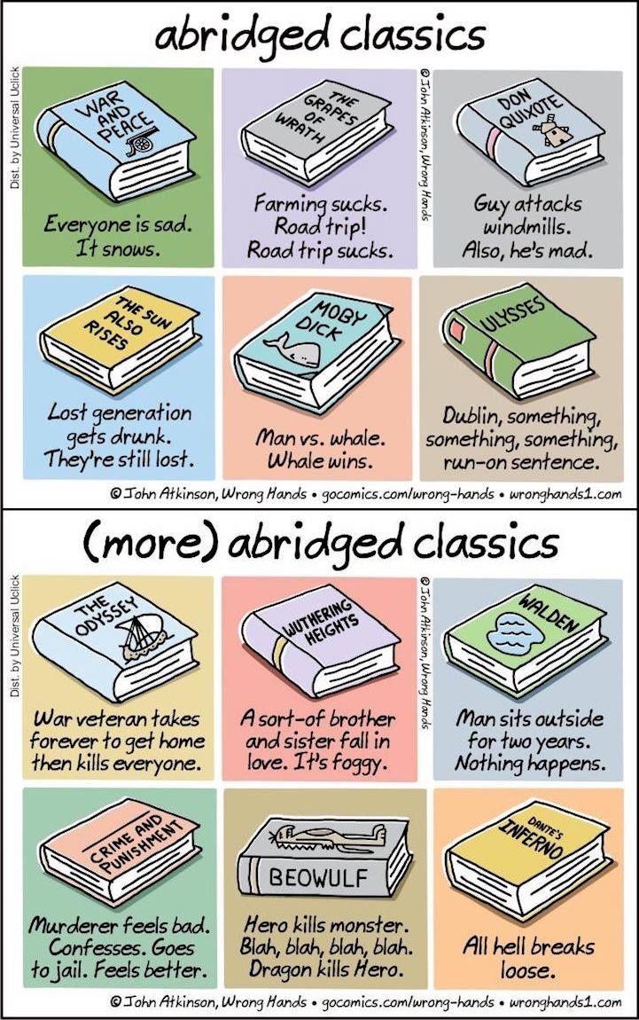 Cartoonist John Atkinson took some of the world's most beloved literary classics and offers us all humorous spoilers.