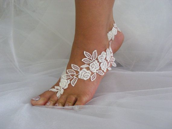 Ivory/Black/Rose Lace Barefoot Sandals, Beach Wedding Sandals, Wedding Anklets…