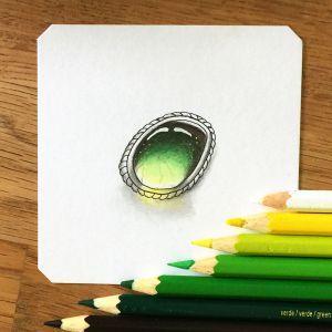 how to draw a gemstone with colored pencils #zentangle #zia #zentangleinspiredart #coloredpencil #zengem