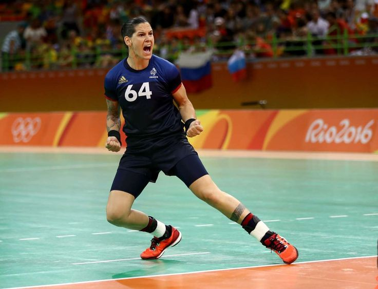 French handball player Alexandra Lacrabère of France celebrates after against Russia in a Group B game. Her team, however, lost the match. - Rio Olympics: Highs and lows from Day Three - August 8, 2016