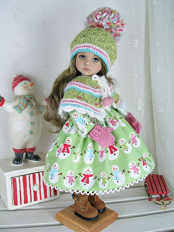 "Outfit for Dianna Effner Little Darling 13"" made by Ulla, Snowmen on Green #DiannaEffner"