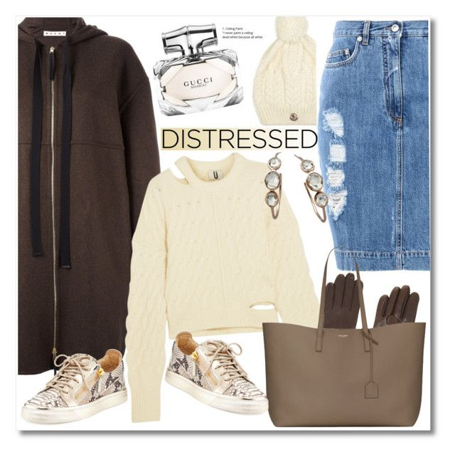 """""""Distressed Denim"""" by vkmd ❤ liked on Polyvore featuring Marni, Moncler, Gucci, Moschino, Topshop Unique, BCBGMAXAZRIA, Yves Saint Laurent, Giuseppe Zanotti, Ippolita and distresseddenim"""