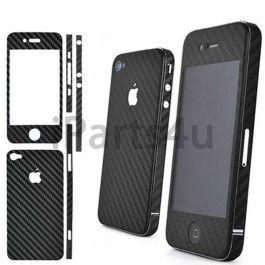 Zwarte carbon skin voor de iPhone 4S en iPhone 4