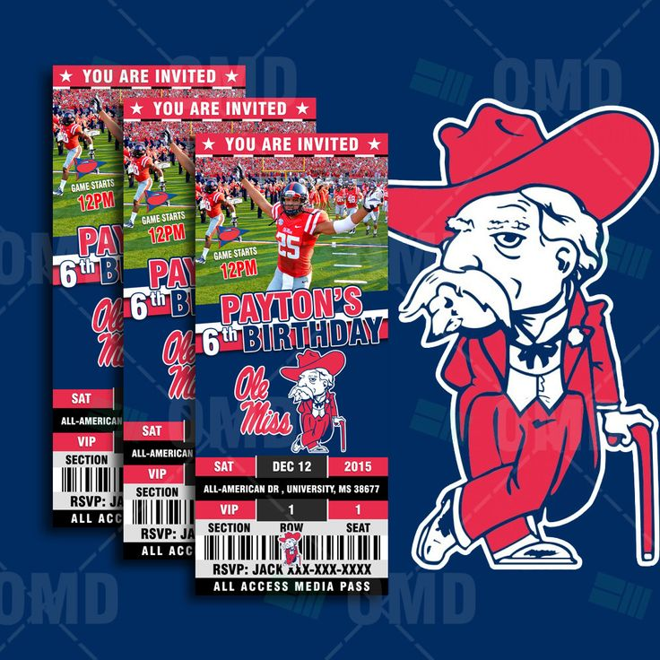 "2.5x6"" Ole Miss Rebels Sports Party Invitation, NCAA Sports Tickets Invites, Rebels Football Birthday Theme Party by sportsinvites"