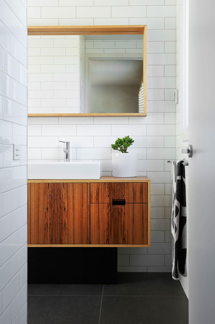 Bathroom with vanities that are practical and so pretty. Designed by Auld Design (aulddesign.com.au).