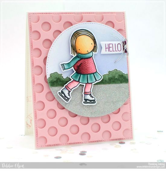 Handmade card from Debbie Olson featuring Pure Innocence Ice Skater stamp set, Inside & Out Stitched Circle STAX, Peek-a-Boo Polka Dots, Tag Builder Blueprints 6, and Blueprints 15 Die-namics #mftstamps