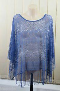Size XS S Sportsgirl Ladies Blue Poncho Crochet Fringe Boho Chic Casual Look | eBay