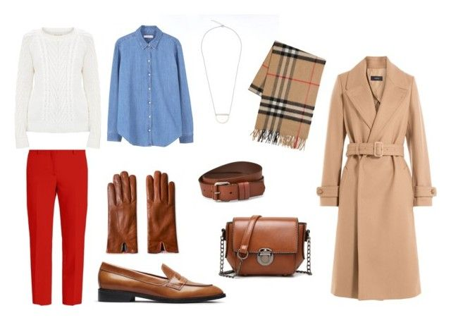 Fall outfit: red pants, white knit jumper, jeans shirt, beige wool coat, loafers
