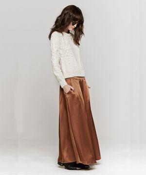 11 fall maxi skirts: pleated satin skirt by giada forte.