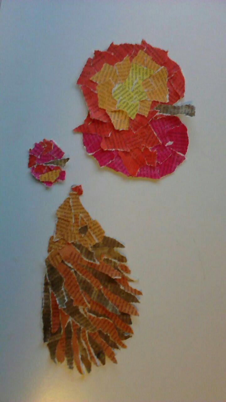 Schnipselwerk Kunst Igel Kunstunterricht Basteln Basteln Herbst Apfel Kunst