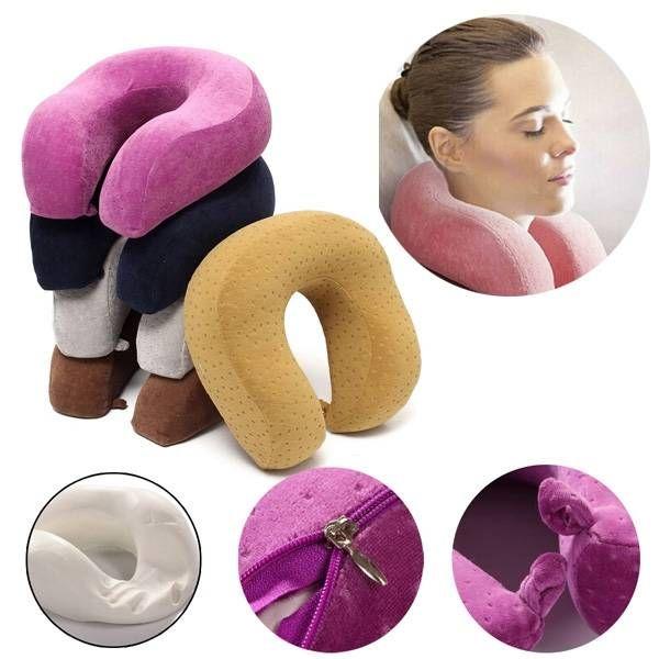 U-Shape Slow Rebound Memory Foam Pillow Neck Protect Headrest Travel Soft Cushion - Banggood Mobile