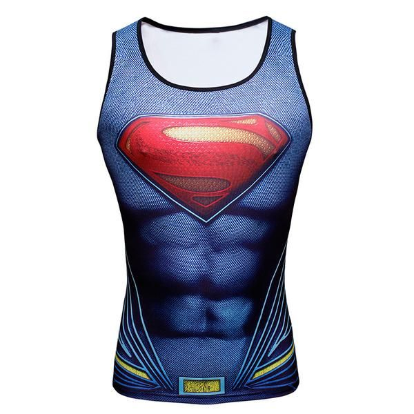 #BestPrice #Fashion Superhero Singlets Superman Tank Tops Bodybuilding Vest muscle Tank Tops Batman Spiderman Male Tank Tops