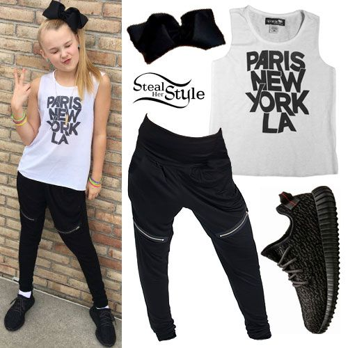 JoJo Siwa posted a new picture today wearing the Sparkle by Stoopher Paris New York LA Print Shirt ($34.00), Funky Diva Harem Pants ($32.00), Adidas Yeezy Boost 350 Sneakers (price varies), and a custom hairbow made by her mother.