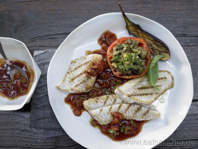 Unser Tagesrezept vom 21.07.2012 - Andalusische Seezunge - smarter - mit gefüllter Fleischtomate. Kalorien: 268 Kcal | Zeit: 45 min. #recipe