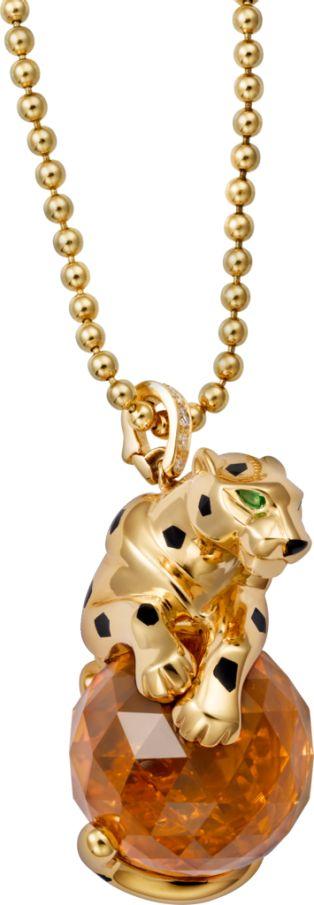 Collier Panthère de Cartier Or jaune, laque noire, citrine, grenats tsavorite, diamants