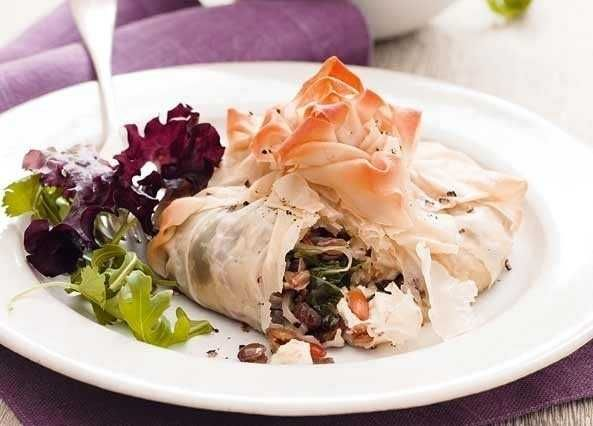 Never mind turkey, these tasty filo parcels make an elegant vegetarian Christmas main course