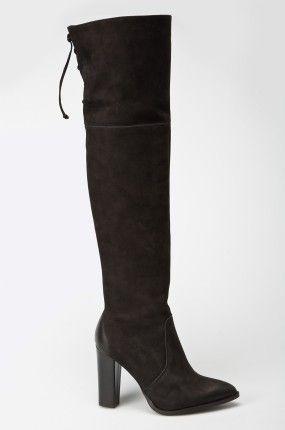 Buty - Carinii - Kozaki za kolano na obcasie słupku czarne
