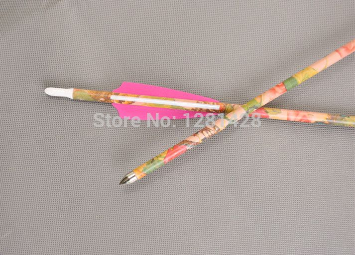 Бесплатная доставка 30 Spine400 Стрельба Из Лука охота и стрельба Розовый Камуфляж Чистый Углерод стрелка женский лучник, 6 шт./лот