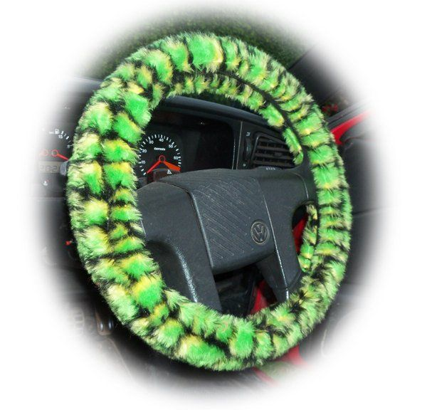 Faux fur Green Crocodile print fuzzy car steering wheel cover print furry and fluffy Dinosaur skin or Lizard