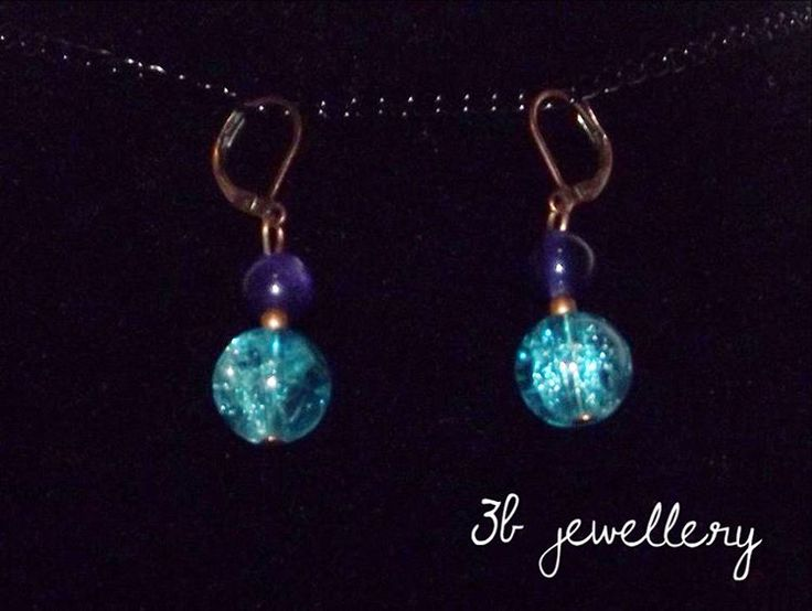 #turquoise and #violet #simple #earrings #3bjewellery #wirewrapping #GettingBetter