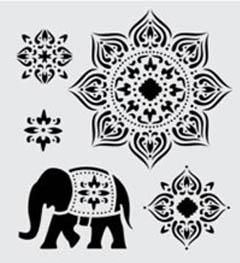 FolkArt ® Handmade Charlotte™ Stencils - Tangier pattern with elephant
