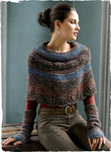 Capelet (cropped cape or poncho) knit of tweeded bouclé yarns in a gradation of hues. By Peruvian Connection.
