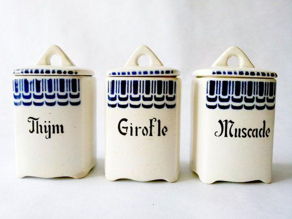 French Vintage KITCHEN CANISTER SET Ceramics White And Blue / French Decor  /French Kitchen /French Country /Rustic