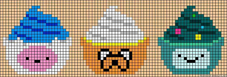 Esse vai para os fãs do desenho Hora de Aventura :D Lindos cupcakes dos personagens do desenho. (Serve para fazer perler beads também!)