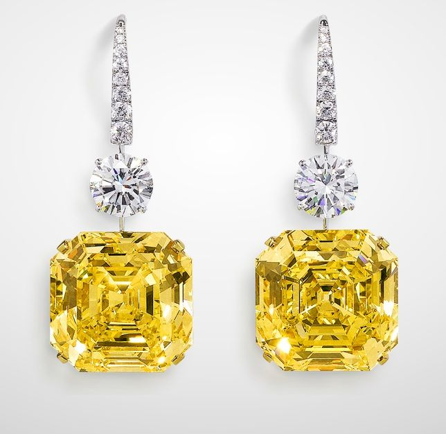 Graff Gemini Yellows Earrings Mesmerising Yellow Emerald Cut Exceeding Over Each Diamonds