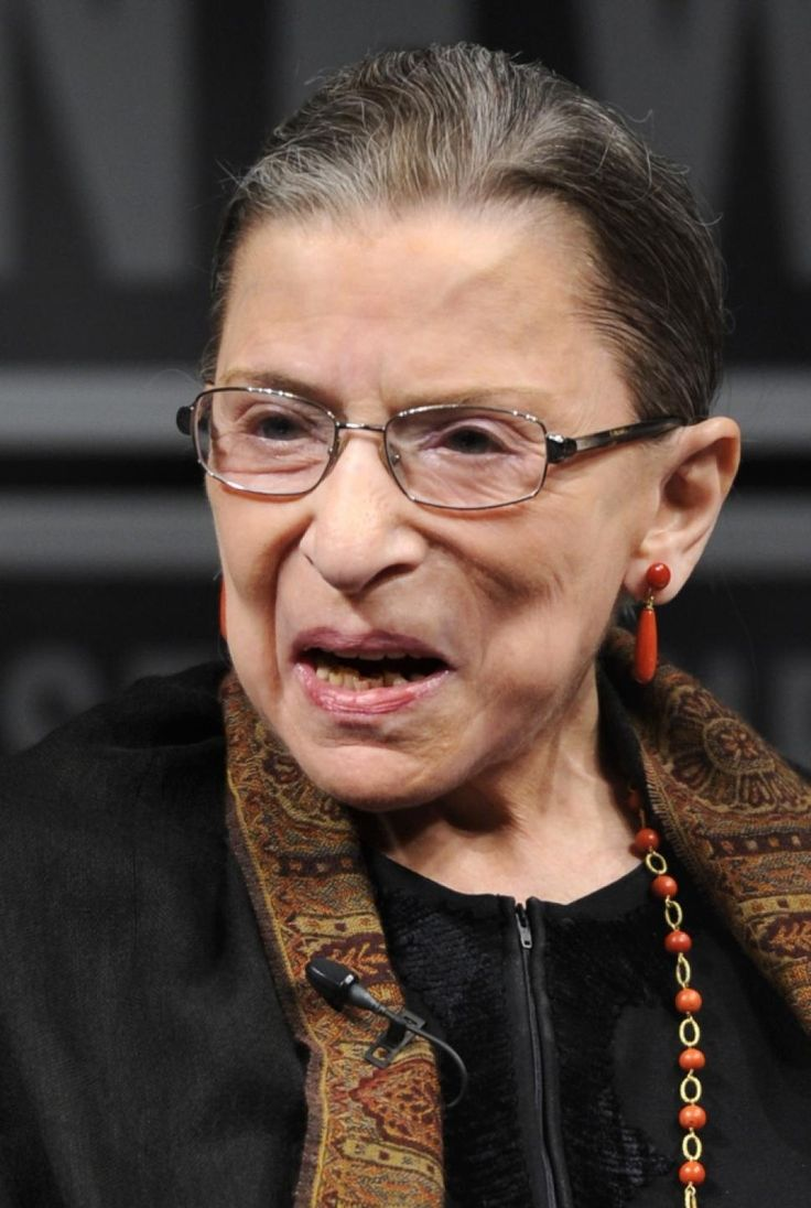 Ruth Joan Bader Ginsburg (1933) is an Associate Justice of the Supreme Court of the US since 1993 (appointed by Bill Clinton). She is the second female justice (after Sandra Day O'Connor) and the first Jewish female justice, belonging to the liberal wing of the Court. The oldest judge. always was an advocate for the advancement of women's rights as a constitutional principle. Extremely progressive, is becoming a cult figure  with a fansite and merchandise!
