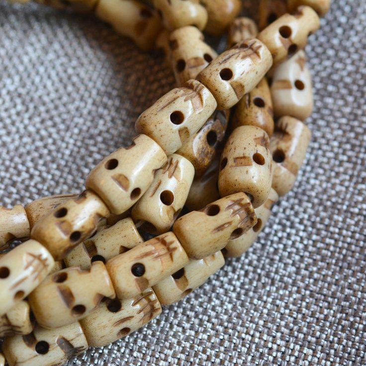 "108 Carved Bone Skull Beads, Tibetan Bone Skull Mala, Tibetan Prayer Beads, Carved Bone Skull Beads, Skull Mala, 108 Beads, 34"", LUM14-21 by WanderlustWorldArts on Etsy"