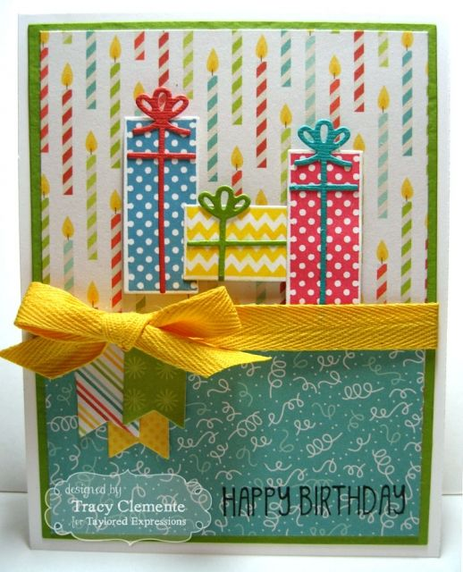 February SOTM Birthday Presents Card by Tracy Clemente #Birthday, #StampoftheMonth, #Cardmaking, http://tayloredexpressions.com/kits.html
